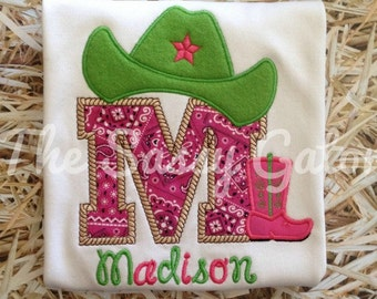 Girls Cowgirl Outfit, Personalized Western Outfit, Cowgirl Shirt For Girls, Toddlers and Baby