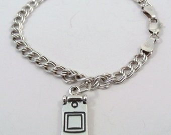Children's Sterling Silver Traditional Charm Bracelet with a Sterling Silver Cell Phone Charm - 0803