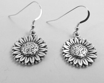 Sterling Silver Sunflower Charms on Sterling Silver Ear Wire Dangle Earrings - 2804
