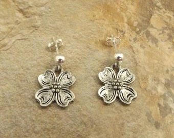Pewter Dogwood Charms on Sterling Silver Ball Post Stud Earrings - Free Shipping to US - (0826)