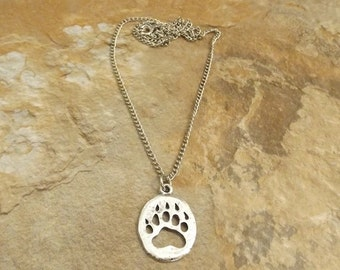 Silver Plated Pewter Bear Paw Charm on a Link Chain Necklace - Free Shipping in the US - (5161)
