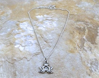 Pewter Frog Pendant on a Link Chain Necklace - 0022