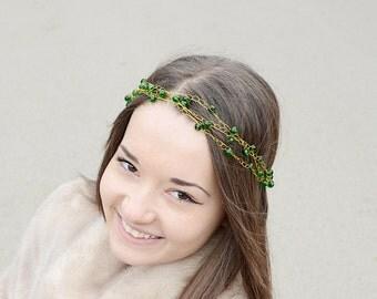 Emerald Green wedding, Green Crystals Tiara, Hair accessory, Bridal hair vine, Party hair accessory, Сrystals crown, Green Gold  Headband