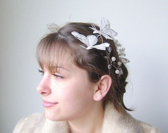 White Silver Bridal Headpiece, Butterfly Crown, Crystal Bridal Comb, Wedding hair accessories, Crystal Hair vine