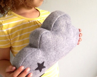 Cloud Pillow- Grey Wool Felt Plush Pillow