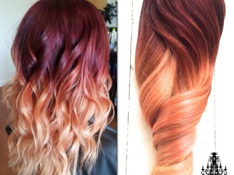 Auburn Red Hair Ombre Red violet peach ombre hair,
