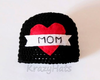 Crochet MOM heart hat.Made to order