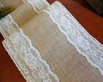 Burlap table runner wedding table runner with vintage ivory lace rustic romantic wedding reception table linens