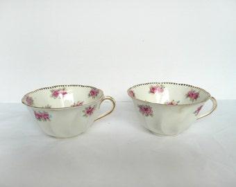 Antique tea cups - vintage tea cups - two bone china tea cups - floral bone china tea cups - rose print bone china cups