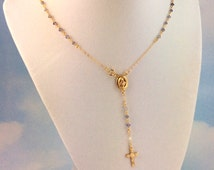 Rosary Necklace Iolite Gemstone Gold Filled Women Cross Pendant  Custom Rosaries Small