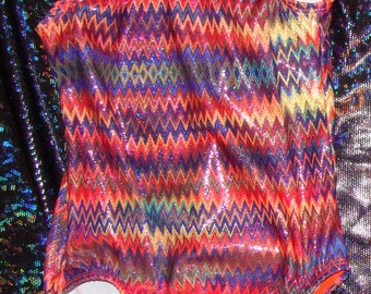 Gymnastics Leotard babies, toddlers, girls and women in orange and purple zig zag holographic