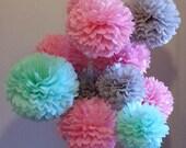 Tissue Paper Pom Poms Set of 9 - Girl Baby Shower