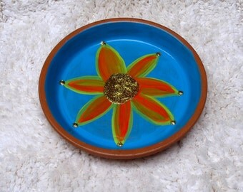 Large 6.5 inch Hand Painted Terra Cotta Dish in Turquoise with Orange Flower  Perfect for Jewelry Keys and Change