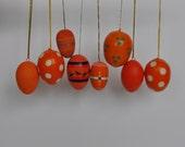 Orange Vintage German Easter Egg Ornaments. Vintage German.  Authentic.  Original.