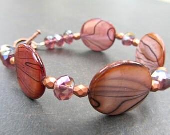Chunky Statement Bracelet, Mother of Pearl, Crystal, Czech Fire Polished Glass 792