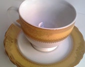 Vanessa Tea Cup and Saucer with Gold Band
