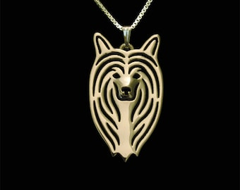 Chinese Crested - Gold pendant and necklace.
