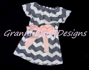summer chevron peasant dress grey white light pink baby toddler girl easter 6 9 12 18 24 months 2t 3t 4t 5t