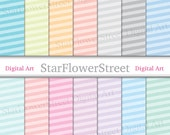 Diagonal Stripe Digital Paper Pastel Scrapbook Tint Blue Purple Pink Mint Yellow Peach Gray Soft Colors ice cream printable instant download
