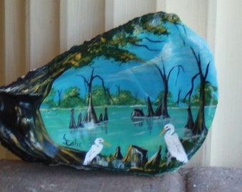 Oyster Shell with a  Bayou Scene