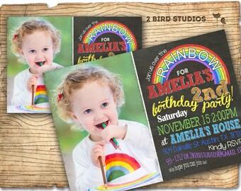 Rainbow party invitation - Art party Rainbow birthday chalkboard theme invite- Rainbow art party printable invitation