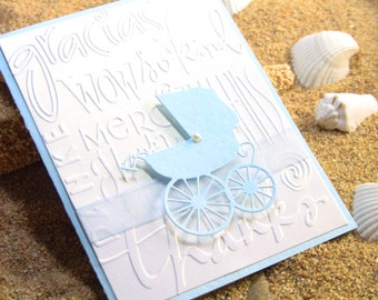 10 3-D Handmade Baby Thank You Cards, Baby Shower Thank You Cards, Baby Carriage with Elegant Pearl, Embossed