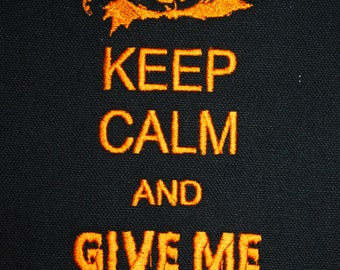 INSTANT DOWNLOAD Keep Calm and Give Me Some Candy Halloween Embroidery Design