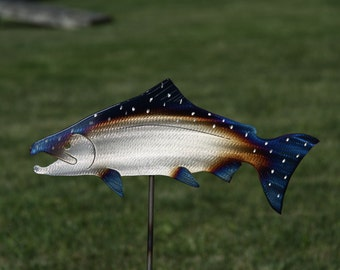 Metal Chinook Salmon Garden Stake. Fish Art for your yard, Creek Side, Pond Or a Great Fishermans Gift