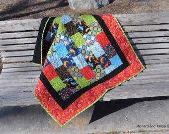 Bright Lizard Baby Quilt 34 by 40 inches