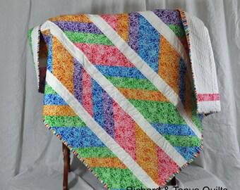 Rainbow Colored Broken Chevron Quilt 42 by 49