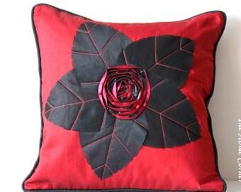 Red Black Pillow, Decorative Pillow, Accent Pillow, Red Toss Pillow, Sofa Pillow, Bed Pillows, Flower Pillow, Appliquéd, 16x16 pillows