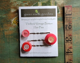 Vintage Button Hair Pins, Set of 3, Thrifted or Vintage Buttons, Red and Pink. Button bobby pins, Clearance hair clips, Destash Hair Pins