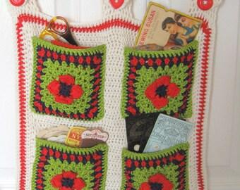 Crochet storage pockets. Unique design.Hanging pockets. Declutter!