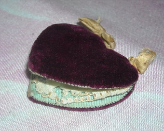 SALE--Small Vintage Antique Wine Velvet Heart Shaped Needle Keeper Pin Cushion 1850's-1900's