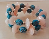 Memory Wire Cloudy Quartz Discs with Blue Roses Beaded Bracelet