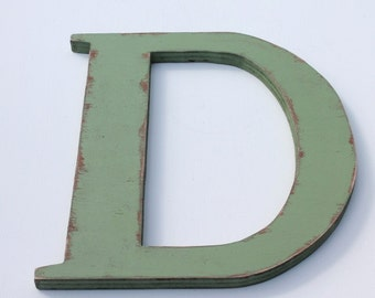 """Large wooden letter """"D"""", alphabet letters, 12 inches tall, home decor, shabby chic, distressed, alphabet, painted Garden Green"""