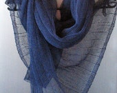 Blue Linen Scarf Shawl Wrap Stole Dark Blue Black Light, Transparent SALE