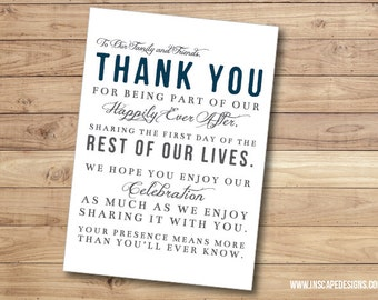 Digital Download Wedding Day/Reception Thank You Card