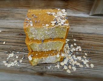 Eczema Relief Honey Milk & Oatmeal Soap, Lavender Patchouli Exfoliating Soap, Natural Honey Oatmeal Soap with Goat Milk