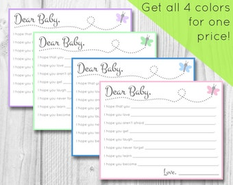 printable baby wishes cards, instant download