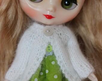 BLYTHE Middie doll hand knit luxury angora cardigan sweater - Winter white
