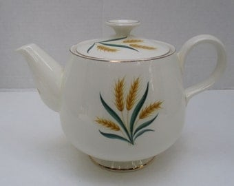 Homer Laughlin Eggshell Cavalier - Royal Harvest Wheat Pattern with Gold Rim - Teapot with Lid