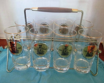 Libbey Glass New York Central RR Mutual Association - Bicentennial Gold and Black Train Tumblers - Set of 8 with Wood & Brass Carrier - 1976