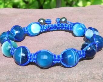 Blue Sardonyx Agate Shamballa Bracelet