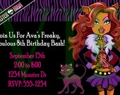 Clawdeen from Monster High Birthday Party Invitation - Special Price