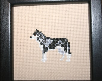 Siberian Husky Cross Stitched Full Body Dog.