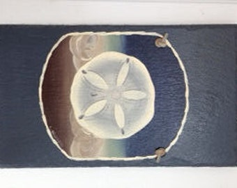Handpainted Personalized medium rectangle Sand Dollar  Summer Beach Welcome Sign Slate