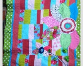 Quilt, 3-D Embellished, Pink Damask, Flowers, Teenagers, Girls, Polka Dot, Black, White, Red, Lime Green, Patchwork, Turquoise, Roses