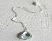 Blue Teardrop Necklace-Bl...
