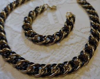 Vintage Jewelry Lightweight Black and Goldtone Convertible Necklace and Bracelet Chunky Double Link